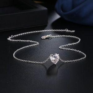 NEW Heart Rhinestone Silver Necklace